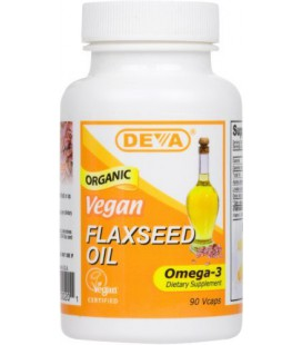 Deva Organic Vegan Vitamins Flax Seed Oil, Omega-3, 90 Vcaps