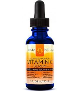 InstaNatural Vitamine C Sérum Visage - Meilleure vitamine C pure et Acide Hyaluronique Sérum anti-âge du visage liquide - Avec O