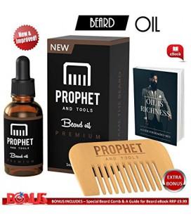 VENTE SUPER Beard pétrole et Barbe Comb Kit avec le Guide Ebook soins Beard gratuit - Inodore Leave-in Conditioner, adoucisseur,