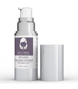 Acide Hyaluronique Sérum à la vitamine C, A, D, E ~ Meilleur Anti Aging Cream & Anti rides Hydratant ~ Soins de la peau pour