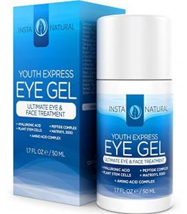 InstaNatural Eye Gel - Crème Acide Hyaluronique, Huile de jojoba bio, MSM, Peptides & More - Meilleur pour Rides, Sombre