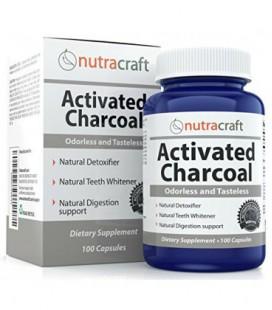 Activé Capsules Charcoal Pour blanchir les dents, gaz, Hangovers & Detox - Double Strength Avec 900mg par Servez - 100%