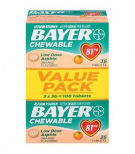 Bayer Aspirine à croquer 81mg, parfum orange, 108 Tablettes