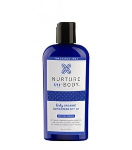 Organic Baby Sunscreen SPF 32 by Nurture My Body, All Natural, Fragrance Free, Great for Babies, Toddlers, and Children -