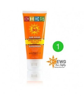 Sun'n'Fun Broad Spectrum Natural Mineral Sunscreen for Kids SPF 30, with Antioxidants, Marshmallow and Chocolate, 3.3oz,