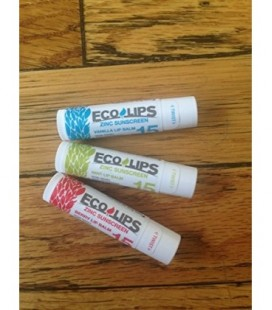 Eco Lips Zinc SPF 15 Sunscreen Lip Balms - Mint, Berry and Vanilla Flavor 3 Pack With Organic Ingredients 0.15 oz. tubes No