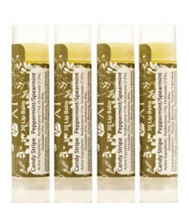 Organic Beauty Products Lip Balm - Certified Organic SPF 30 Candy Stripe Peppermint / Spearmint Lip Balm – 4 Pack - Jing Ai