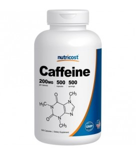 Nutricost caféine 500 capsules 200 mg par capsule