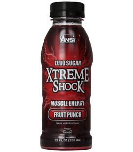 Ansi Xtreme Shock RTD Energy Drink, Fruit Punch, 12 Count