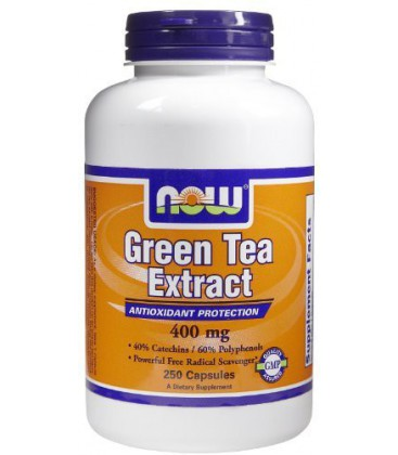 Now Foods Green Tea Extract, 250 caps / 400mg (Pack of 2)