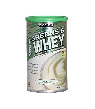 Biochem 100% Greens and Whey Protein Powder, Vanilla, 22.7-O