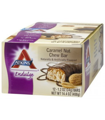 Atkins Endulge Bars, Caramel Nut Chew, 1.2-Ounce Bars (Pack
