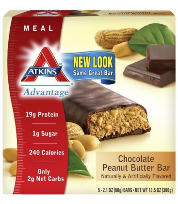 Atkins Advantage Bars, Chocolate Peanut Butter , 5 - 2.1-Oun