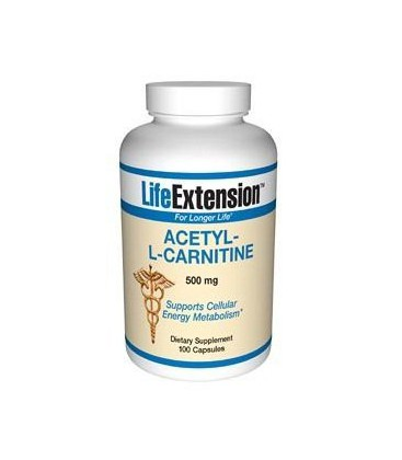 Life Extension Acetyl L-carnitine 500mg Capsules, 100-Count