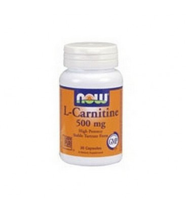 NOW Foods Carnitine, 30 Capsules / 500mg (Pack of 2)