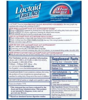 Lactaid Fast Act Lactase Enzyme Supplement, Chewable Tablet,