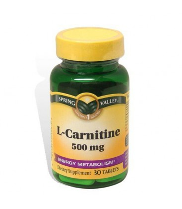 Spring Valley 30 Tablets 500 mg L-Carnitine Dietary Suppleme