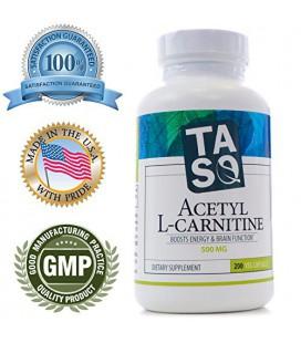 TASQ acétyl L-carnitine (ALCAR) 500MG, 200 Vegetarian Capsules - soutien cognitif