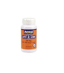 Now Foods Opti L-Zinc, 100 caps / 30mg (Pack of 2)