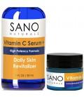 Vitamine C Sérum Visage 20% + Bonus GRATUIT Crème pour les yeux avec de l'acide hyaluronique pour Anti rides, Soin Anti Aging Sk