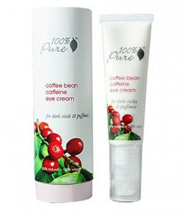 100% Pure: Organic Coffee Bean Cream Caféine Eye, 1 oz, anti-inflammatoire, Eclaircit les cernes, concentré avec Potent