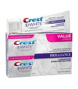 Crest 3D White Brilliance dents vibrantes blanchissant Dentifrice 4.1 Oz, menthe poivrée, 2 Count