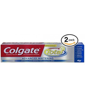 (PACK DE 2 TUBES) DENTAIRE Colgate Total ADVANCED BLANCHIMENT Dentifrice. Whiten et enlève les taches de surface! ANTI-CAVITÉ FL