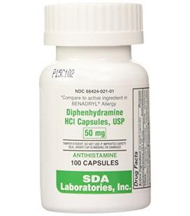 Benadryl Allergy Diphenhydramine Capsules 50mg, 100CT
