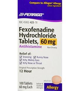 Perrigo - Fexofenadine Allegra Générique 60 Mg - 100CT.