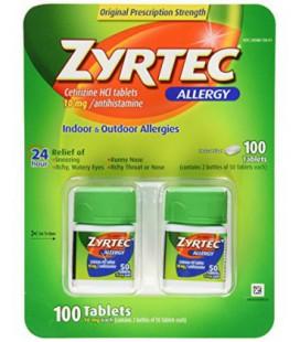 Zyrtec Cetirizine Hcl / antihistaminique (10 mg), 100 Comprimés