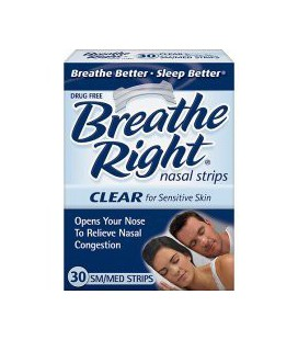 Bandelettes nasales Breathe Right, Small / Medium, Effacer, 30 Count