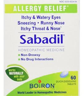 BOIRON médecine homéopathique Sabadil comprimés pour le rhume des foins et les allergies, boîtes 60-Count (Pack de 3)