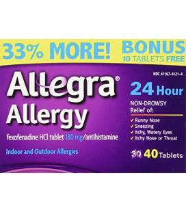 Allegra Allergy 40 comprimés (Bonus Pack - 33% Plus) 24 Protection Hour - Non Drowsy