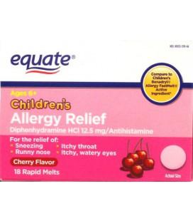 Equate Allergy Relief de 18ct pour les enfants (saveur de cerise) Comparer à Benadryl Allergy FastMelt pour enfants