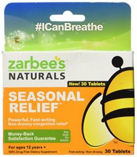 Naturals Relief Saisonnier de Zarbee :: Non-Drowsy Congestion Relief :: 30 comprimés Chaque