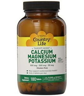 Country Life Mins Target Calcium Magnésium Potassium 500mg / 500mg / 99mg 180 Tablet