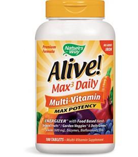 Way Alive Nature! Formule premium Max3 Daily Multi-Vitamin, No fer ajoutée, 180 comprimés
