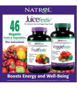 Natrol JuiceFestiv, 240 Capsules (120 FruitFestiv Capsules et 120 VeggieFestiv Capsules - fait avec des fruits organiques et