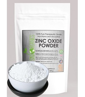Zinc Oxide Powder By Sky Organics 16oz- Uncoated & Non-Nano- 100% Pure Cosmetic Grade- For DIY Sunscreen, Lotion, UVA and