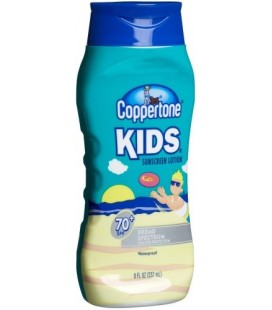 Coppertone Kids Sunscreen Lotion, SPF 70+, 8-Ounce Bottles (Pack of 2)