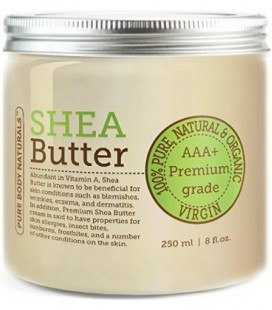 Pure Body Naturals AAA+ Unrefined Organic Shea Butter, 8 Ounce