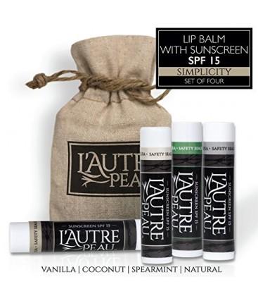 L'AUTRE PEAU SPF 15 Moisturizer Lip Balm, Coconut, Natural, Spearmint and Vanilla Flavors, (Pack of 4)