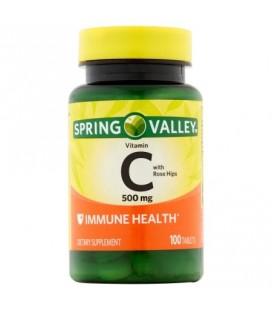 Spring Valley La vitamine C avec des comprimés églantier naturelles 500 mg 100 ct