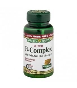 Nature's Bounty Super B Complex avec l'acide folique et de la vitamine C vitamine supplément Comprimés 100 count