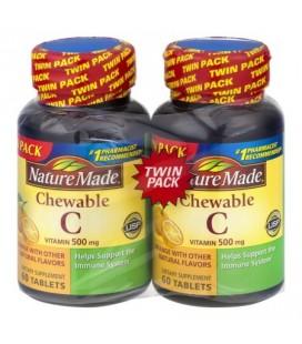 Nature Made Vitamine C 500 mg à croquer Des comprimés à deux lits Paquet 60 ct ct Dietary Supplement 2