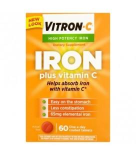 Vitron-C Suractivé Fer Plus Vitamine C comprimés enrobés de suppléments alimentaires 60 ct