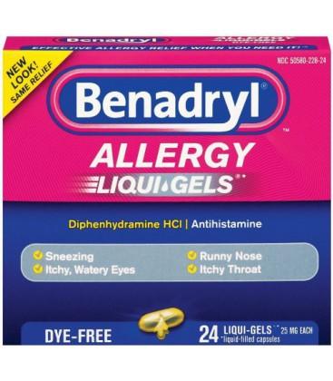 Benadryl Dye-Free Allergy Reliefs, 24-Count Liqui-gels (Pack
