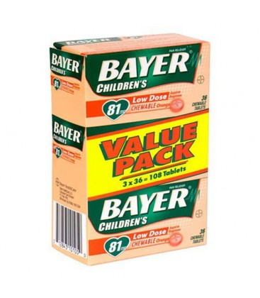 Bayer Chewable Low Dose Aspirin Orange, 36-Count Tablets (Pa