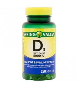 Spring Valley supplément de vitamine D3 Gélules 5000 UI 250 ct