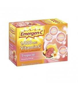 Emergen-C 1 000 mg de vitamine C Complément alimentaire aromatisé boisson gazeuse Tropical Mix - 30 CT